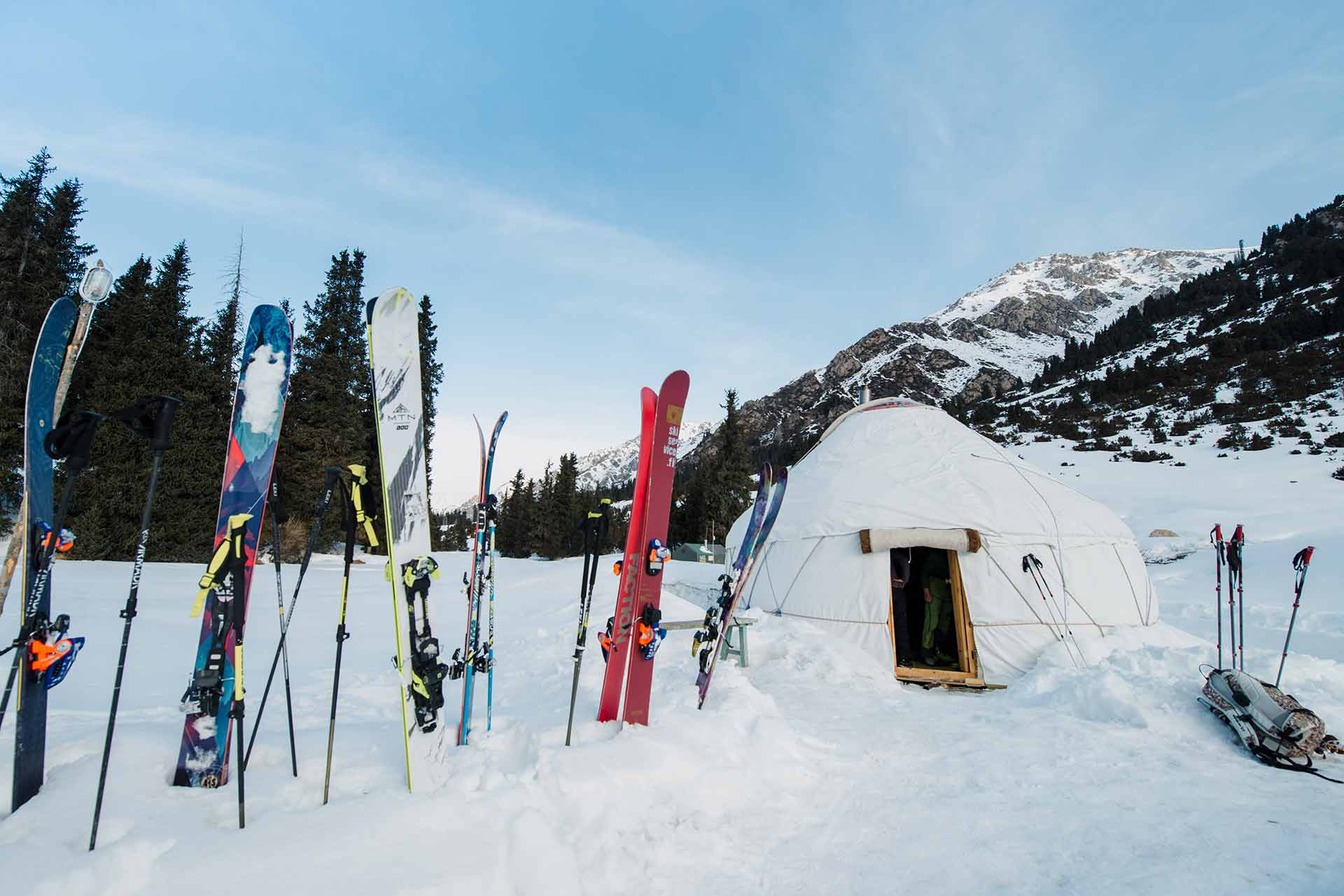 ski touring yurt staying in kyrgyzstan