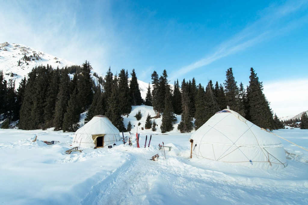 back country skiing yurt camp kyrgyzstan